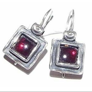 Silpada Sterling Silver and Square Garnet Earrings